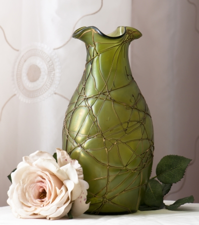 vase art noveau with artifical rose