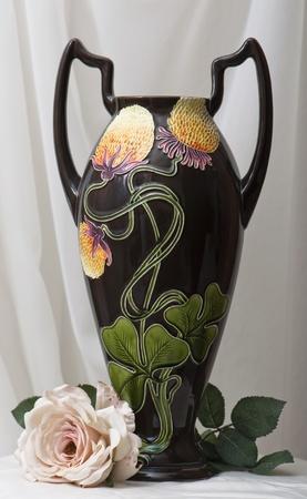 amphora art noveau with artifical rose
