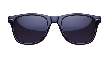 Photo for Black Shades Sunglasses Front View Cut Out on White. - Royalty Free Image