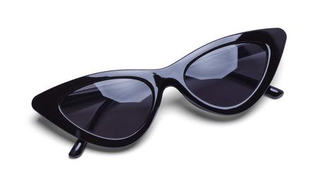 Photo for Folded Black Retro Sunglasses Isolated on White Background. - Royalty Free Image