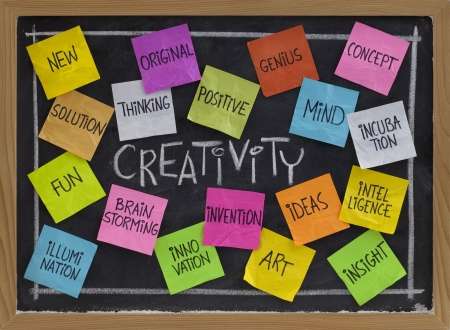 Photo pour creativity concept - related cloud of words, color sticky notes and white chalk handwriting on blackboard - image libre de droit