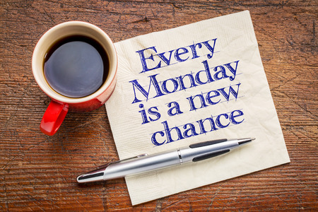 Every Monday is a new chance - motivational handwriting on napkin with a cup of coffee