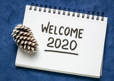 Photo for welcome 2020 handwriting in sketchbook with a frosty pine cone, New Year  concept - Royalty Free Image