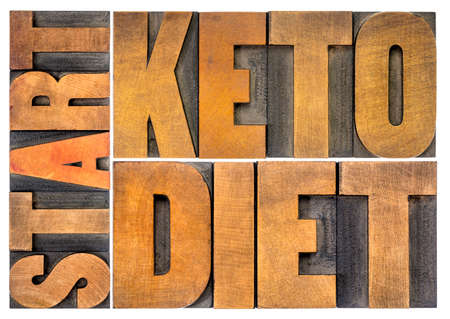 Photo for start keto diet concept - isolated word abstract in vintage letterpress wood type, healthy ketogenic diet with high fats and low carbs - Royalty Free Image