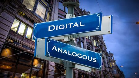 Photo for Street Sign Digital versus Analogous - Royalty Free Image