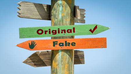 Photo pour Street Sign the Direction Way to Original versus Fake - image libre de droit