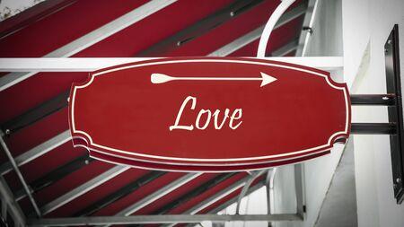 Photo pour Street Sign the Direction Way to Love - image libre de droit