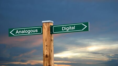 Photo for Street Sign the Direction Way to Digital versus Analogous - Royalty Free Image