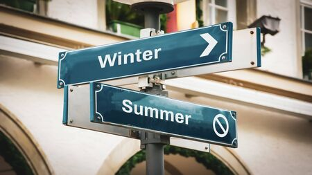 Photo for Street Sign the Direction Way to Winter versus Summer - Royalty Free Image