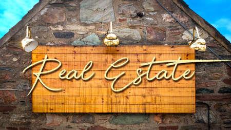 Photo pour Street Sign the Direction Way to Real Estate - image libre de droit