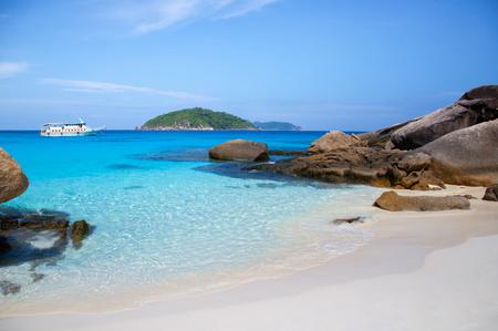 Similan island and vibrant turqouise blue Andaman sea. Phang Nga - Phuket, Thailand