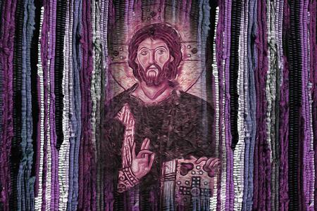 Photo for Jesus Christ image on bright vivid colourful fabric texture background - Modren Jesus Christ religion artistic image - Royalty Free Image