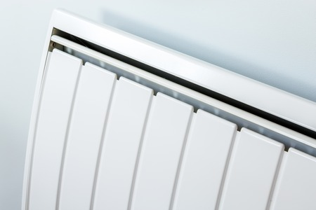 High angle closeup of modern radiator