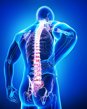 male back pain in blue