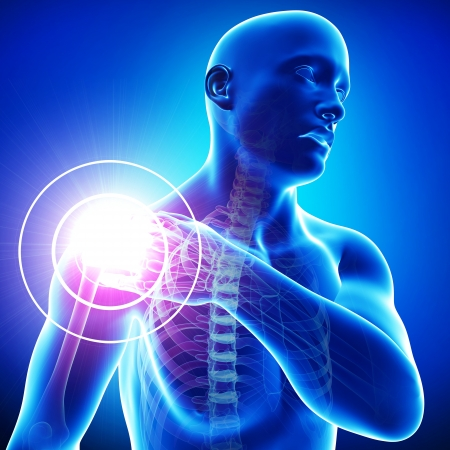 male shoulder pain in blue