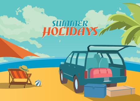 Foto de Summer holidays illustration,flat retro design beach and suv, concept - Imagen libre de derechos