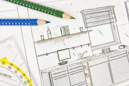 Scribble of a modern built-in-kitchen