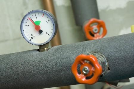 Druckanzeige an einem HeizungskesselPressure gauge on a boiler