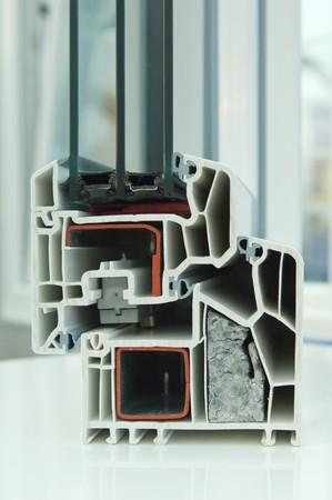 Schnittmodell eines KunststofffensterrahmensCutaway model of a plastic window frame