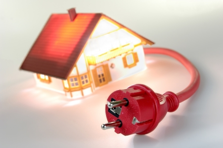 Model house with red plug, short-circuit