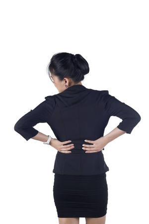 Business woman with back pain isolated white background, Model is Asian woman.