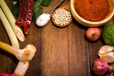 Ingredient of Thai Red curry paste.