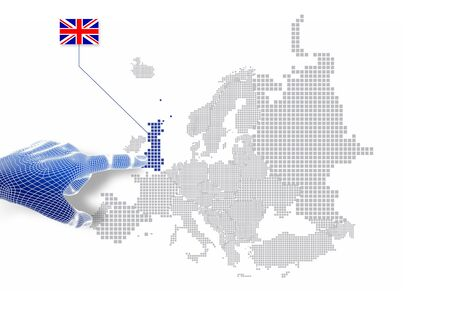 3d Finger touch on display United kingdom map and flag