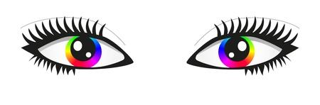 Pair of bright rainbow eyes