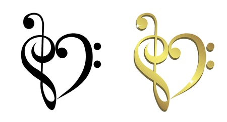 Heart formed of treble clef and bass clef