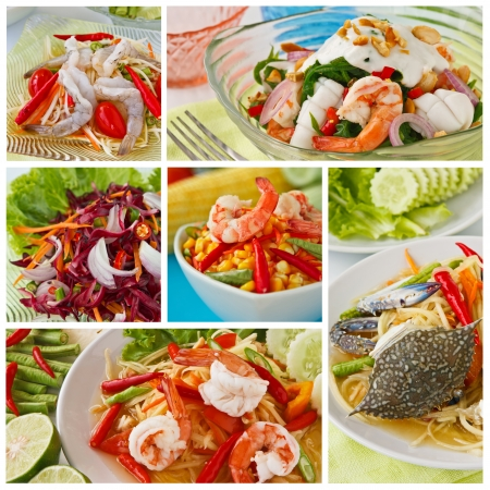 Collage from  Photographs of variety Thai spicy salad