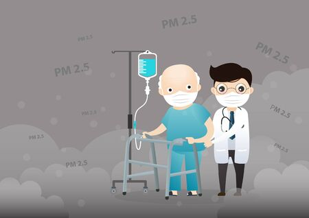 Illustration pour Old man and doctor cough with dirty lung because PM2.5 air poll. Old man and doctor wearing air pollution mask for protect dust PM2.5. smoke, smog, respiratory, environment, health, breath. Cartoon, Vector, illustration   - image libre de droit