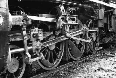 Photo pour The train wheel of the Steam locomotive Back and  White Tone - image libre de droit