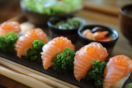 Photo pour Salmon Sushi with soup salad Japanese local food - image libre de droit