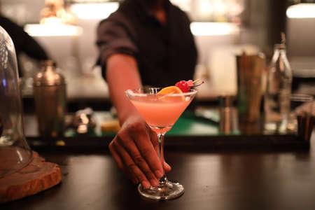 Photo pour cocktails in glasses on bar counter in pup or restaurant - image libre de droit