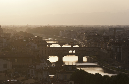 Evening view of the bridges in Florence