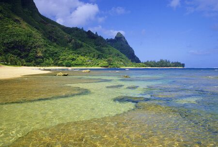 Beautiful Tunnels Beach is located on the north shore of Kauai, Hawaii and is a very popular snorkeling and diving destination.