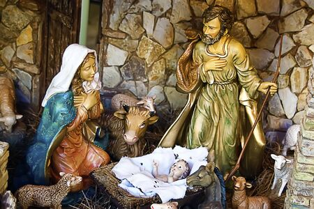 Photo for Reproduction of the birth of Christ in an old hut - Royalty Free Image