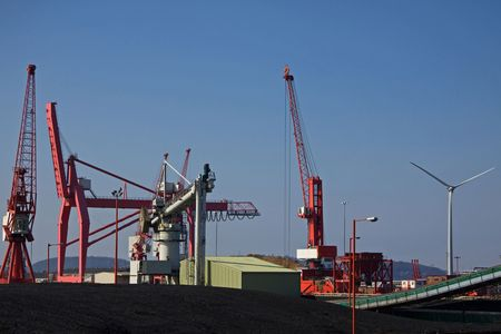Coal Store and Wind Turbine Represent Alternative Energy Sources at Avonmouth UK