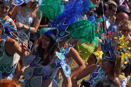 Bristol, UK - July 3, 2010 - Participants and spectators at the annual St Pauls carnival . A record 70,000 people attended the 42nd running of the street festival.