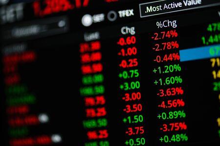 Foto de View of Stock Market Crash from Covid-19 Pandemic with shallow depth of field. - Imagen libre de derechos