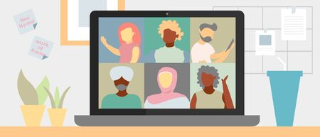 Illustration pour Illustrations flat design of video conference. Concept of multi-diversity people, workplace, laptop screen, group of people talking by internet. Stream, web chatting, online meeting friends. Coronavirus, quarantine isolation. - image libre de droit