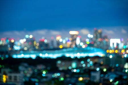 Photo pour Blurred background of the night sky with the Bangkok city skyline - image libre de droit