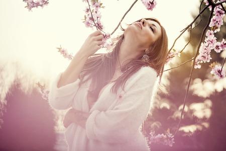 Sensual portrait of a spring woman, beautiful face, brunette