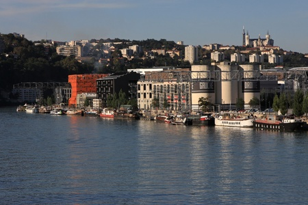 LYON, FRANCE - SEPTEMBER 16 - Confluence, the former district of harbors in renovation, in Septembre 16, 2012 in Lyon, France. The Confluence project is going to double the surface of the city center of Lyon.