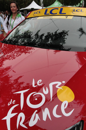 PAU, FRANCE, July 15, 2015 : Car of Director of the Tour de France cyclist race, in the Village Depart.