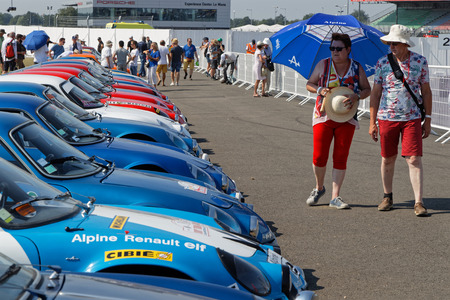 LE MANS, FRANCE, July 7, 2018 : A collection of Alpine-Renault during Le Mans Classic on the circuit of the 24 hours. No other event in the world assembles so many old racing cars in the same place than Le Mans Classic.