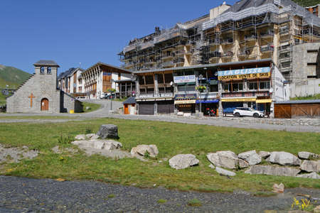 LA MONGIE, FRANCE, June 24, 2020 : The village of La Mongie is a ski resort at 1,800 m altitude, lies below the Col du Tourmalet and is the start to the Pic du Midi cable car.