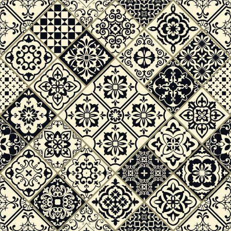 Illustration pour Seamless patchwork in turkish style. Hand drawn background. Azulejos tiles patchwork in black and beige. Portuguese and Spainish decor. Islam, Arabic, Indian, Ottoman motif - image libre de droit