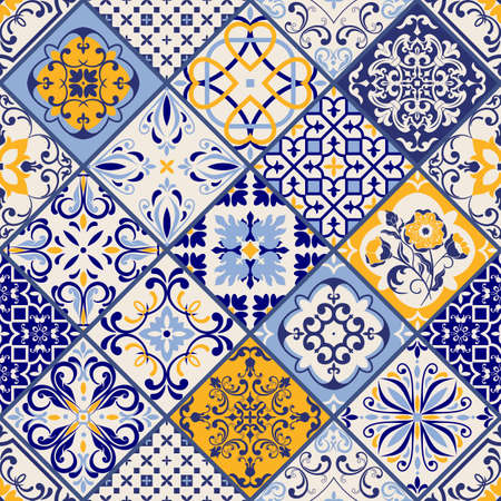Illustration for Seamless colorful patchwork in turkish style. Hand drawn background. Azulejos tiles patchwork. Portuguese and Spain decor. Islam, Arabic, Indian, ottoman motif. Perfect for printing on fabric or paper - Royalty Free Image
