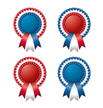 Four tricoloured and easy customizable rosettes isolated on white background